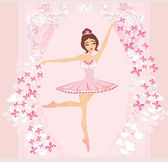 Beautiful ballerina - abstract card with butterflies and pink or — Stock Vector