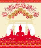 Будда - абстрактный фон, красивый орнамент карта — Cтоковый вектор