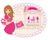 красивая беременная женщина по магазинам для ее нового младенца — Cтоковый вектор