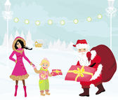 Santa claus distributes gifts — Stock Vector