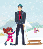 Girl wants to ride on a sled — Vecteur
