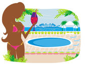 Girl with a drink on tropical pool — Stock Vector
