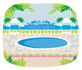 Relaxing tropical swimming pool. — Stock Vector