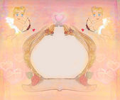 Happy valentines day vintage card with cupids and vintage frame — Stock Photo