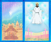 Two religious images - Jesus Christ bless and birth of Jesus — Stock Photo