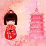 Kokeshi doll cartoon character , beautiful abstract card — Stock Photo