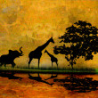 Safari in Africa silhouette of wild animals reflection in water — Stock Photo #41030749