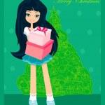 krásná dívka s darem box - vánoční pohlednice — Stock vektor