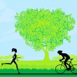 Silhouette of marathon runner and cyclist race in the park — Stock Vector #41319805