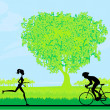 Silhouette of marathon runner and cyclist race in the park — Stock Vector