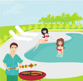 Barbecue Party on the pool — Stock Vector