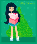 Beautiful girl with gift box - Christmas postcard — Stock Vector