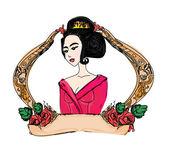 Stylized vector illustration of a beautiful geisha girl  — Stock Vector