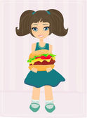 Sweet girl Eating A Burger  — Stock Vector