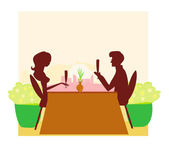 Young couple silhouette flirt and drink champagne in restaurant — Stock Vector
