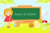 Illustration of back to school girl  — Stock Vector