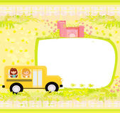 A school bus heading to school with happy children — Stock Vector