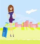 Fille de voyage beauté avec bagages — Vecteur
