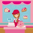 Bakery store - saleswoman serving large pink cake — Stock Vector