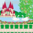 Landscape with a beautiful castle , gardens and two swans — Stock Vector #41373399