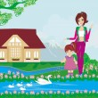 Stock Vector: Mother and daughter feed the swans