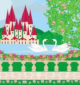 Paesaggio con due cigni, un bellissimo castello e giardini — Vettoriale Stock