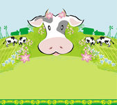 Cows graze in the meadow - abstract  funny illustration — Stock Vector
