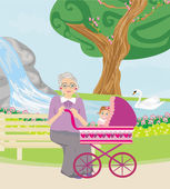 Grandmother with her granddaughter for a walk in the park — Stock Vector