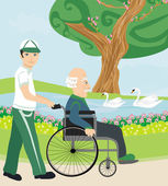 Son pushing senior father on wheelchair outdoors for a walk  — Stock Vector