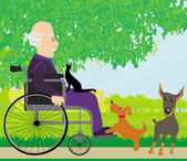Old man in a wheelchair and his pets — Stock Vector