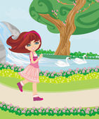 Sweet girl in the park — Stock Vector