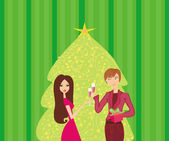 Young couple flirt and drink champagne near by Christmas Tree — Stock Vector
