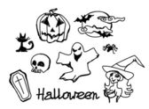 Set with halloween doodles  — Stock Vector