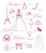Fashion Paris doodle set — ストックベクタ