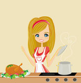 Beautiful lady cooking lunch in the kitchen — 图库矢量图片