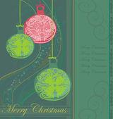 Elegant Christmas background with baubles card — Stockvektor
