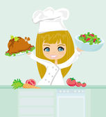 Happy young girl cooking in the kitchen — Stock Vector