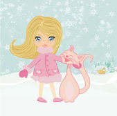 Little winter girl and her happy cat  — Stock Vector