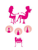 Young lady silhouette doing manicure in beauty salon  — Stock Vector
