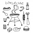 Barbecue icon doodle set — Stock Vector