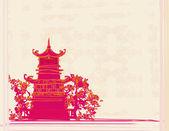 Altpapier mit chinesischen tempel auf abstrakte asiatische landschaft — Stockvektor