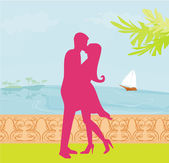 силуэт пара на тропическом пляже — Cтоковый вектор