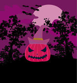 Vector Halloween background with pumpkin and bat. Abstract Class — Stock Vector