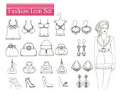 Fashion shopping icon set  — Stock Vector