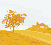 Beautiful vector autumn landscape — Wektor stockowy