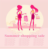 Fashion silhouettes girls Shopping in the city - Summer shopping — Stockvector