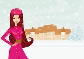 Módní zimní dívka na zimní krajina — Stock vektor