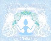 Silhouette d'une jeune fille dans une pose d'yoga — Vecteur