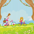 Mother and daughter biking in the park — Stock Vector #41800375
