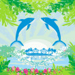 Tropical island paradise with leaping dolphins — Stock Vector #41800805